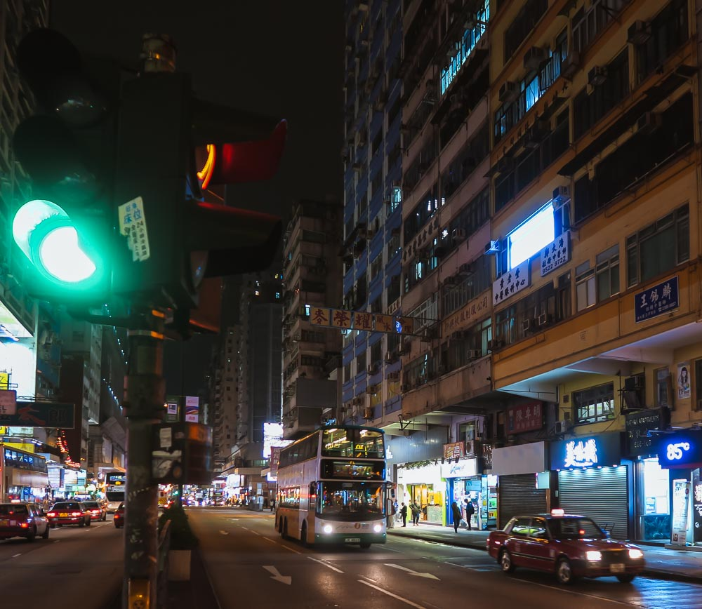 Nathan Road in Kowloon in der Nacht