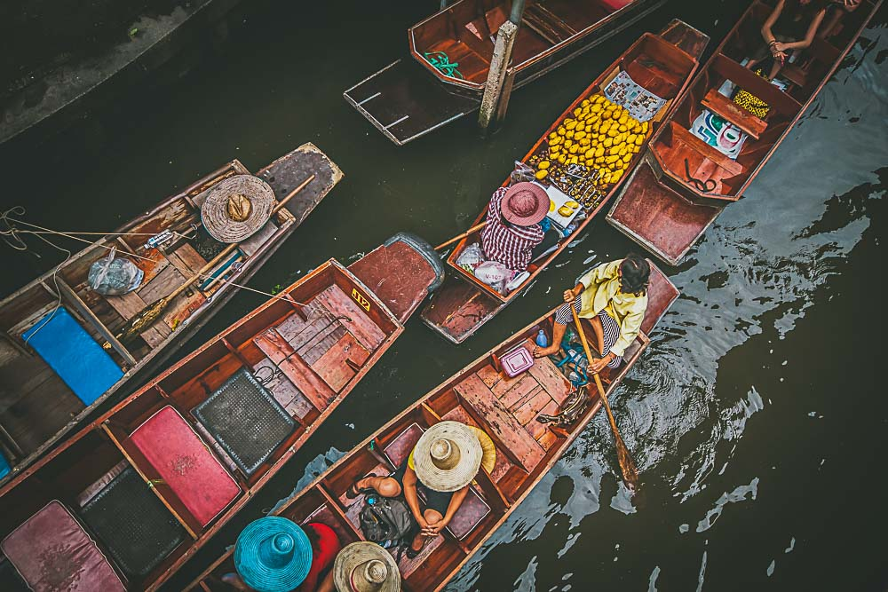 Boote im Floating Market