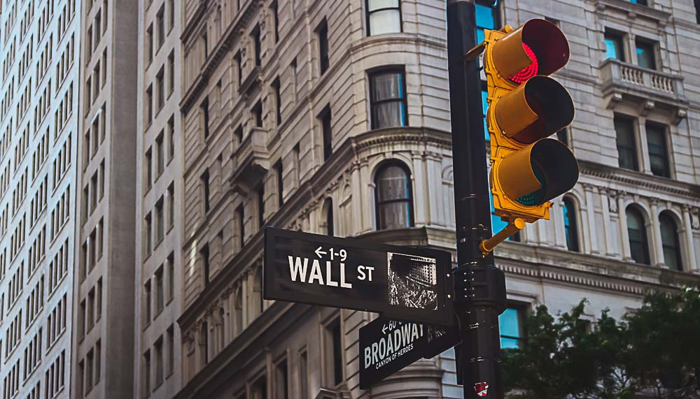 Wall Street in New York in den USA