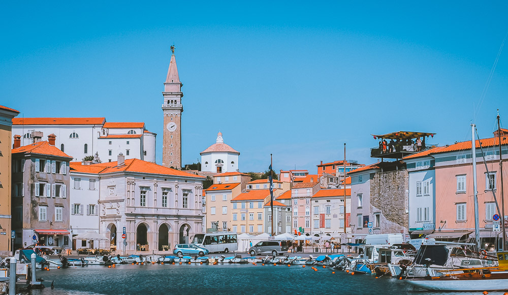 Hafen in Piran in Slowenien