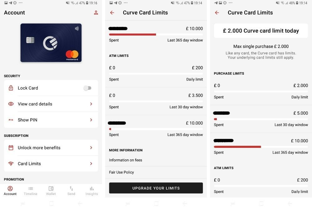 Curve App Card Screenshot Karte Account Limit