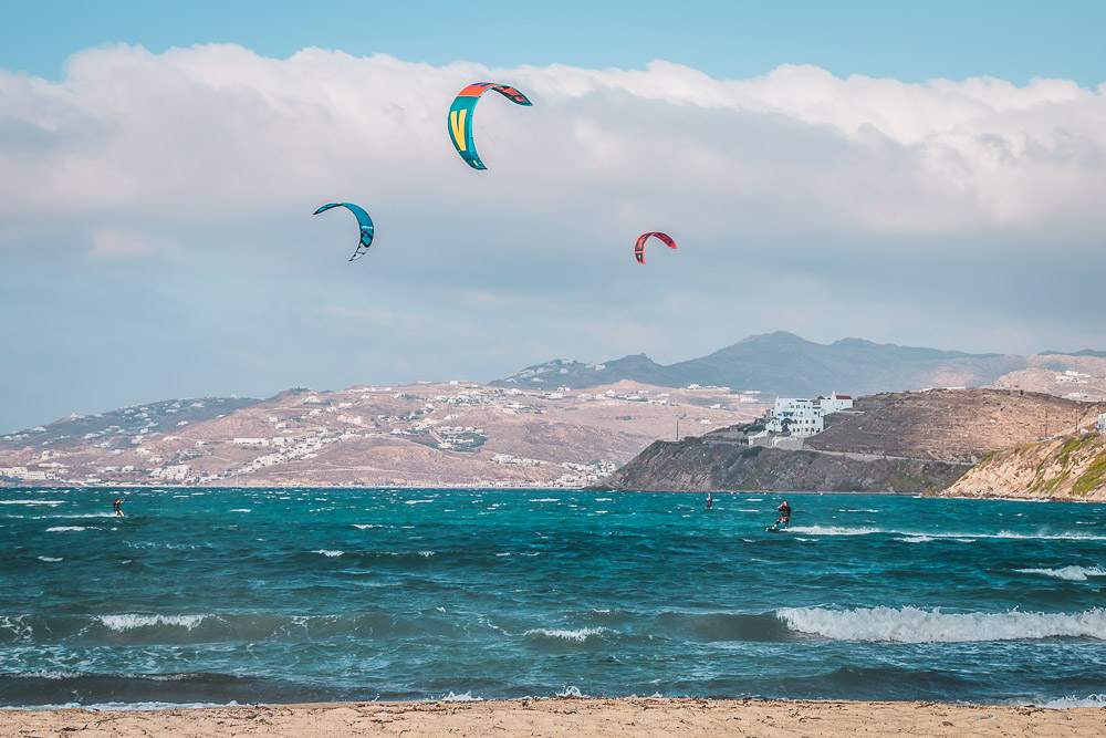 Kite Surfer in Mykonos in Griechenland