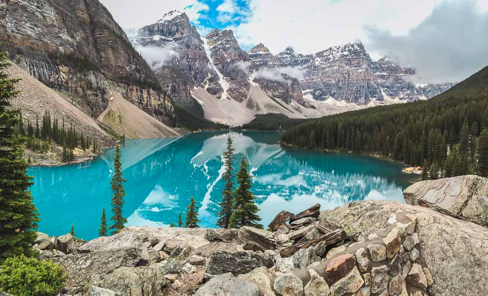 Moraine Lake im Banff Nationalpark in Alberta in Kanada