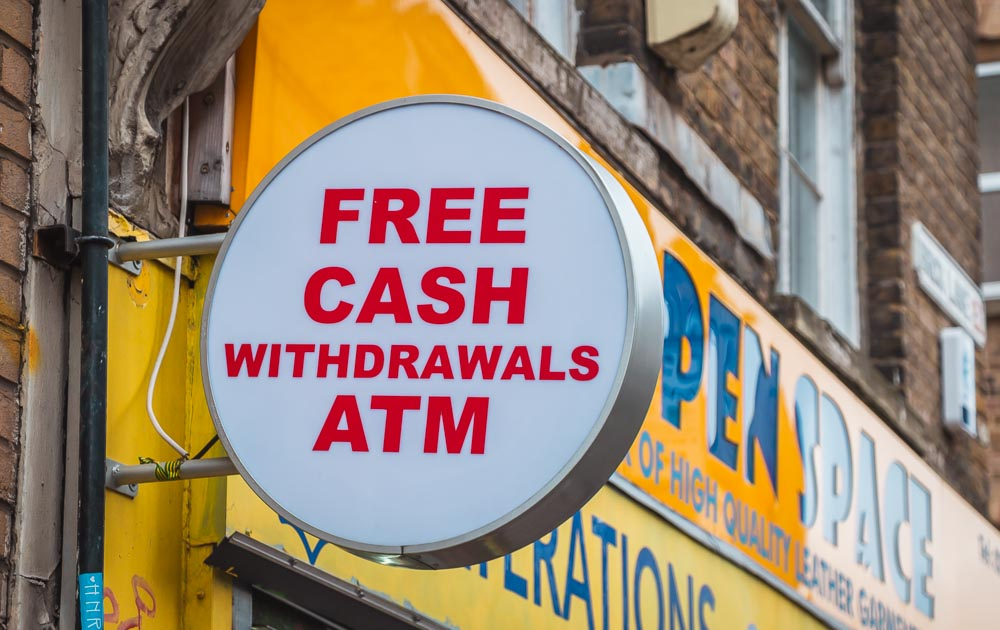 Free Cash Withdrawels ATM in London in England